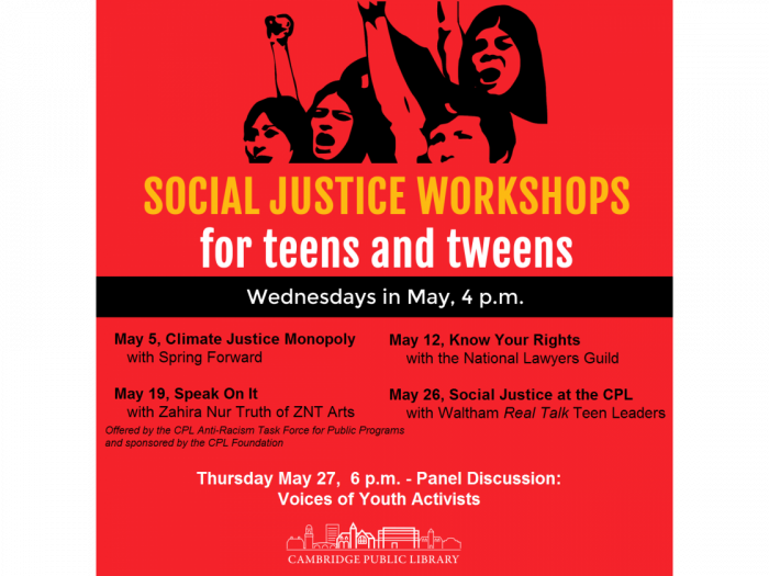 Event image for Social Justice at the Cambridge Public Library (Tween/Teen Hangout)