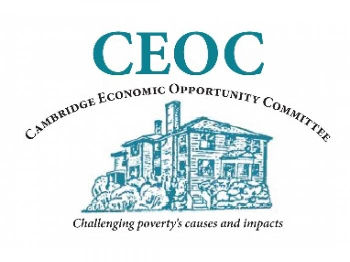 "Teal colored Cambridge Economic Opportunity Committee (CEOC) logo, which is a picture of our house with our foundation written out ""Challenging poverty's causes and impacts"""