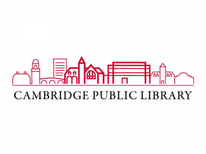 Cambridge Public Library city skyline logo.