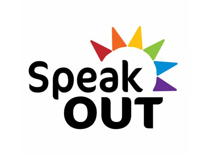 SpeakOUT's logo, the words SpeakOUT and rainbow colored sunbeams.