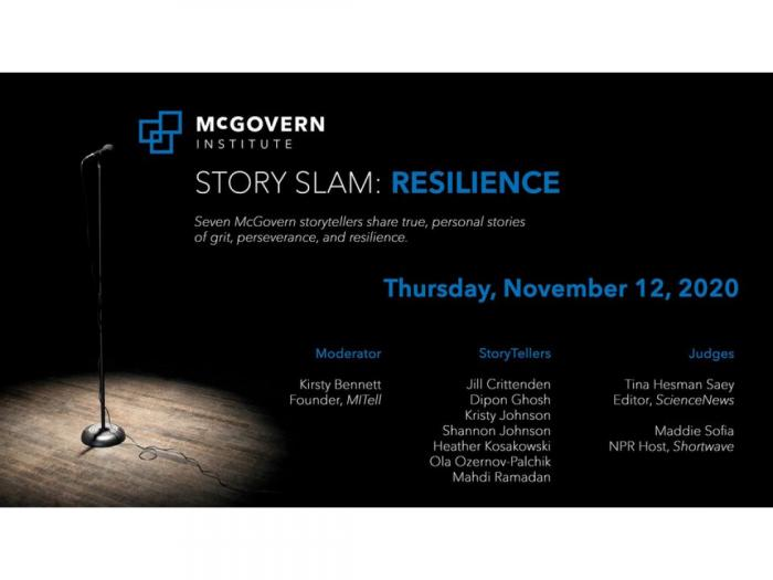 Flier for the Story Slam event hosted by the McGovern Institute for Brain Research.