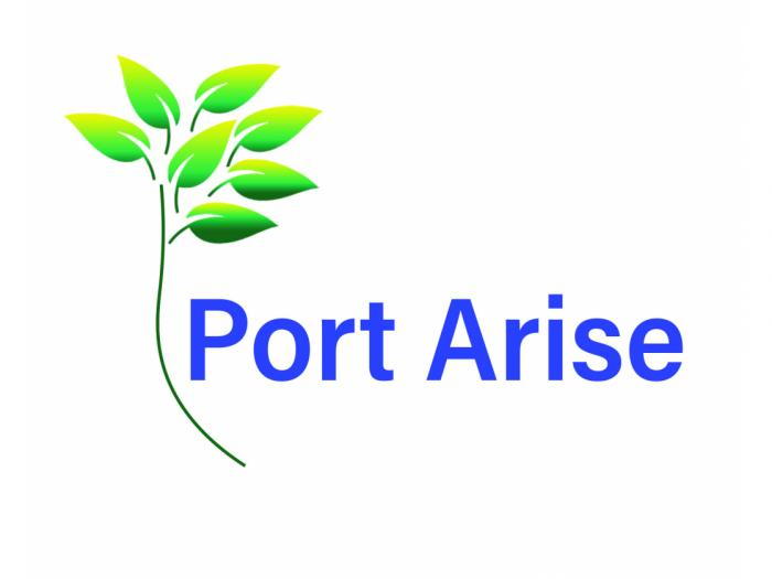 "Port Arise logo, which features the text ""Port Arise"" in blue with an image of a green leaf, left of the text."