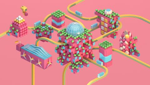 Uptopian city on pink background