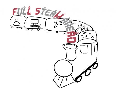 "Logo depicts a train with various science and engineering symbols on it's exterior. ""Full STEAM Ahead"" floats above the train."
