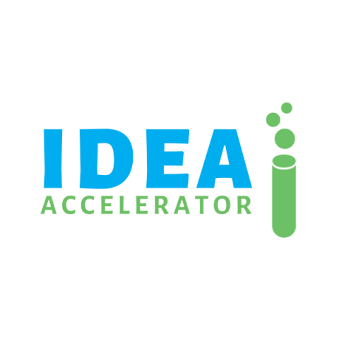 Idea Accelerator logo in blue and green