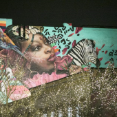 A billboard collage with a girl's face and a zebra painted in the center.